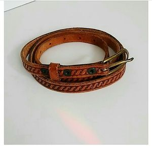 FULL GRAIN COWHIDE SKINNY BROWN LEATHER BELT